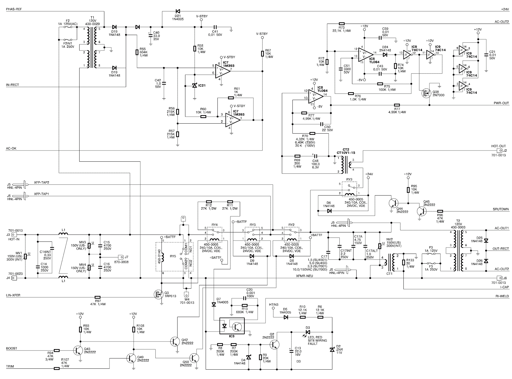 Принципиальная электрическая схема источника бесперебойного питания APC Back-UPS 250i / 400i / 600i.