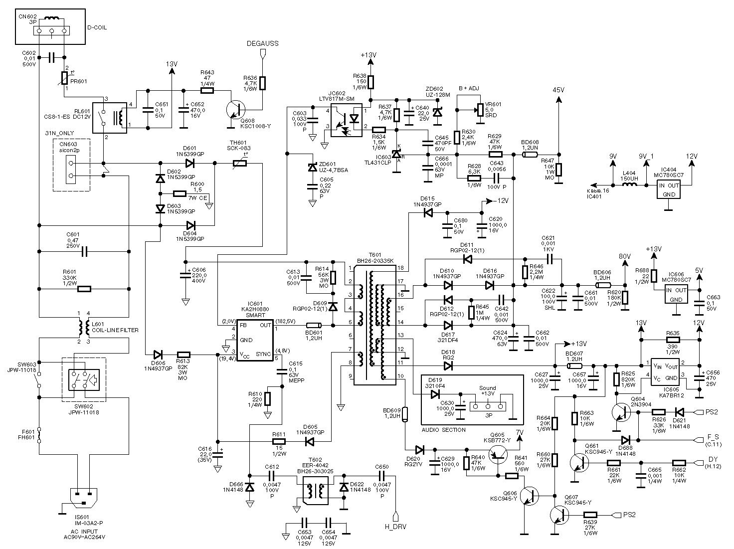 Электрические схемы и ремонт мониторов