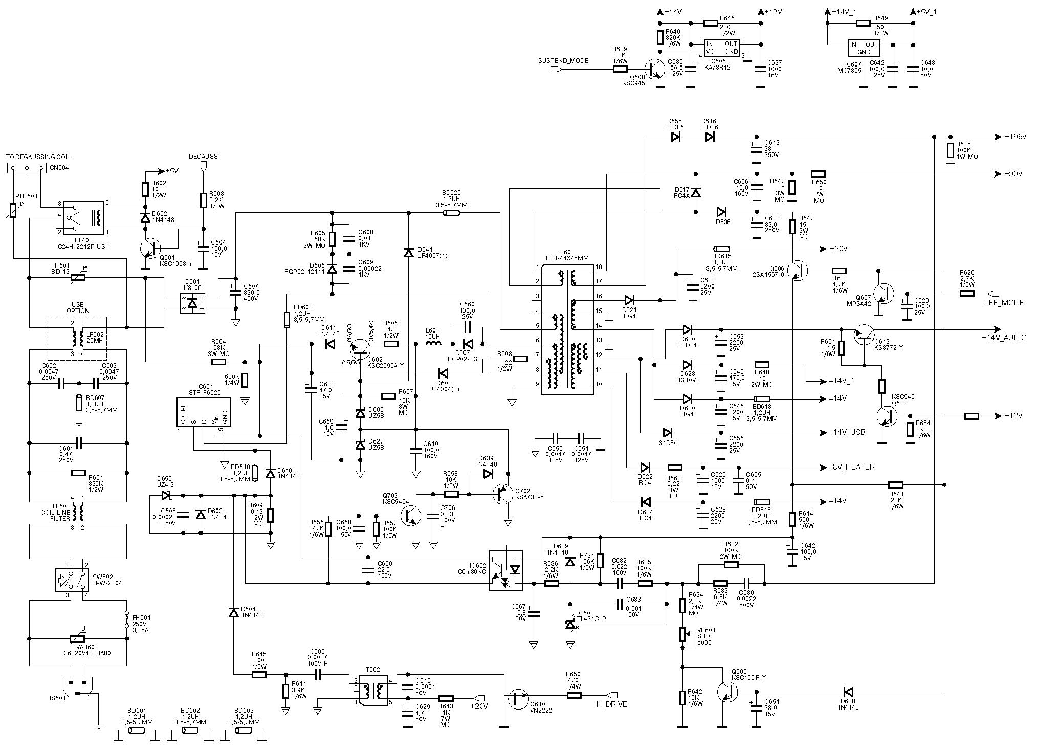 схема блока питания монитора samsung